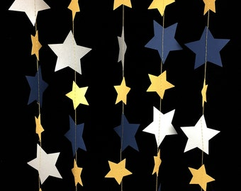 Metallic Gold, Silver and Navy Star Garland - Navy Blue and Silver Garland, Navy and Silver Decor, Navy and Gold Decorations - GS051MtgdSvNv