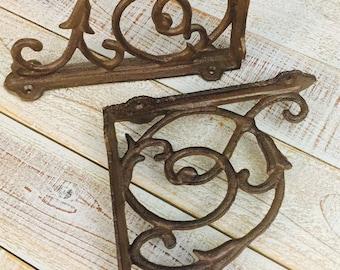 "Iron Brackets, Shelf Brackets, Rustic, Supports, Display Shelf, Book Shelf, Cast Iron, Tulip Filigree, Shelf Supply, 8"" X 6.5"""