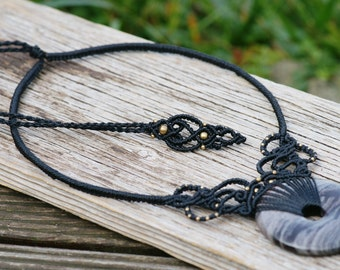 Noble black macramee necklace with beautiful black gray stone, tribal