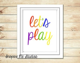 Let's Play Printable Art (8x10) - Printable Art / Let's Play / Classroom Art / Teacher Art / Playroom Art / Children's Art / School Art