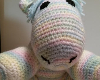 Pastel Rainbow Amigurumi Unicorn