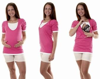 Maternity still shirt 3 in 1 pink short sleeve Wear