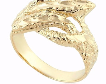 14K Yellow Gold Double Snake Ring Women Fashion Jewelry