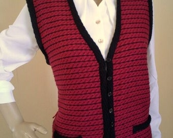 Vintage 70s Tricoville Knitted Black and Burgundy Waistcoat Hypster Nerd Size 12 Sleeveless Sweater Retro Office Work School Wear