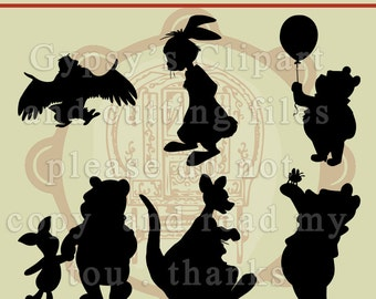 Winnie the Pooh, disney svg, disney silhoutte, Kanga,Owl, Rabbit,Silhouette, Disney, Cutting file, Invitations, Birthdays,SVG