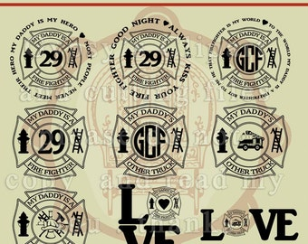 Fireman Daddy, Children Fireman, Fireman Monogram, Firefighter  SVG,  Logo, Fireman symbols , Cutting Files, Vinyl, Vector, Fireman Family