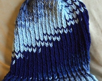 Multi Blue Slouchy Beanie// Adult// Fall Accessories