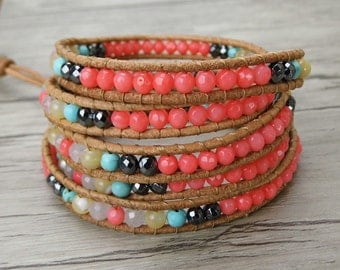 bead wrap bracelet women boho bead bracelet yoga gemstone bracelet gypsy leather wrap bracelet multi color bracelet yoga Jewelry SL-0317