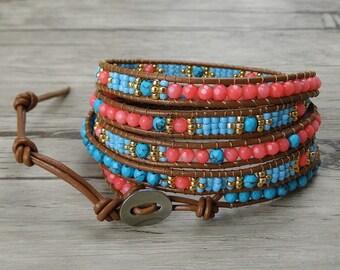 Turquoise wrap bracelet Yoga Bead wrap bracelet Coral Turquoise bead bracelet weaving seed bead bracelet gypsy wrap bracelet Jewelry SL-0363