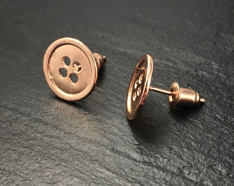 Button Stud Earrings in Gold, Silver, or Rose Gold