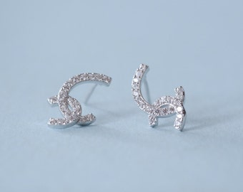 dainty 925 sterling silver irregular earrings with cz ,irregular stud earrings,handmade,everyday,birthday,bridesmaid gift