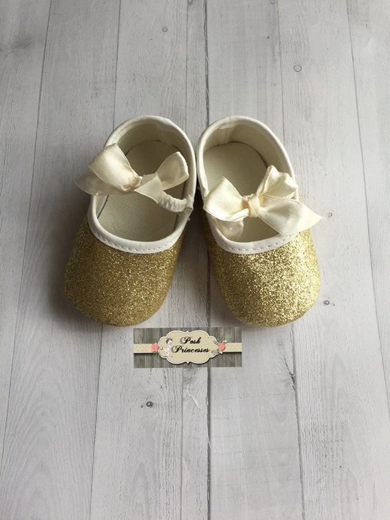 Baby Girl Gold Glitter Shoes Baby Shower By PoshPrincessesBows