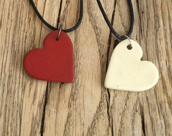 Handmade red or white ceramics heart pendant with black necklace. Ceramic Jewelry. Gift for her.