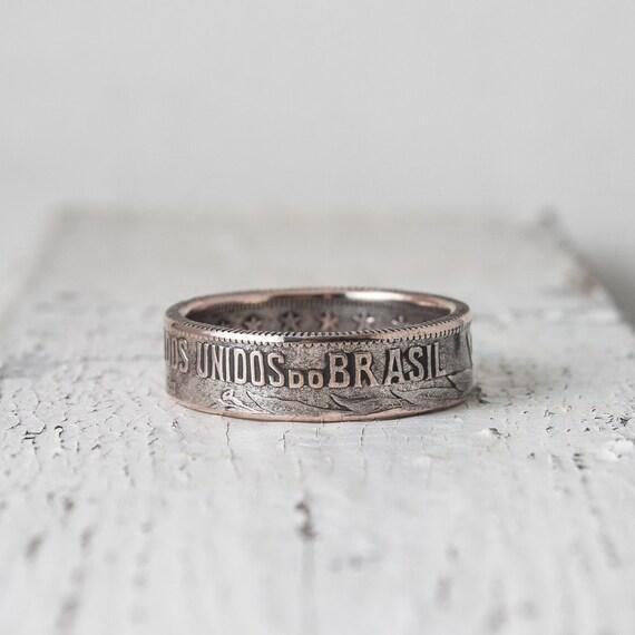 brazilia silver coin ring 2000 reis 19241934 coin ring