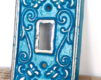 Teal Light Switchplate - Wall Accents - Light Switch Cover - Teal Wall Decor - Light Switch Plate - Lightswitch Cover - Shabby Chic Decor