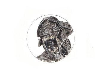 Xenomorph/Alien A6 greetings card miniature watercolour