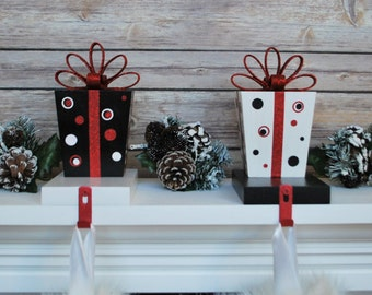Christmas Stocking Hangers, Stocking Holder, Stocking Hanger, Christmas Decor, Mantel Hook, Gift Box Stocking Hook, Red Christmas Decor