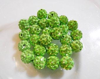 Neon Green Shamballa beads 10 mm Disco ball beads Polymer clay beads Micro pave crystal Rhinestone Biagi Elise bracelet DIY Jewelry Supplies