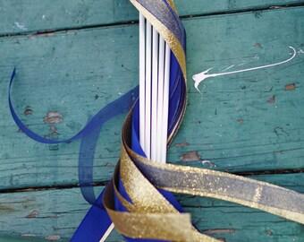 100 Ribbon Wands with Satin, Glitter, and Organza Ribbon / Wedding Ceremony Wands / Glitter Ribbon Wands / Wedding Wands / Ribbon Exit