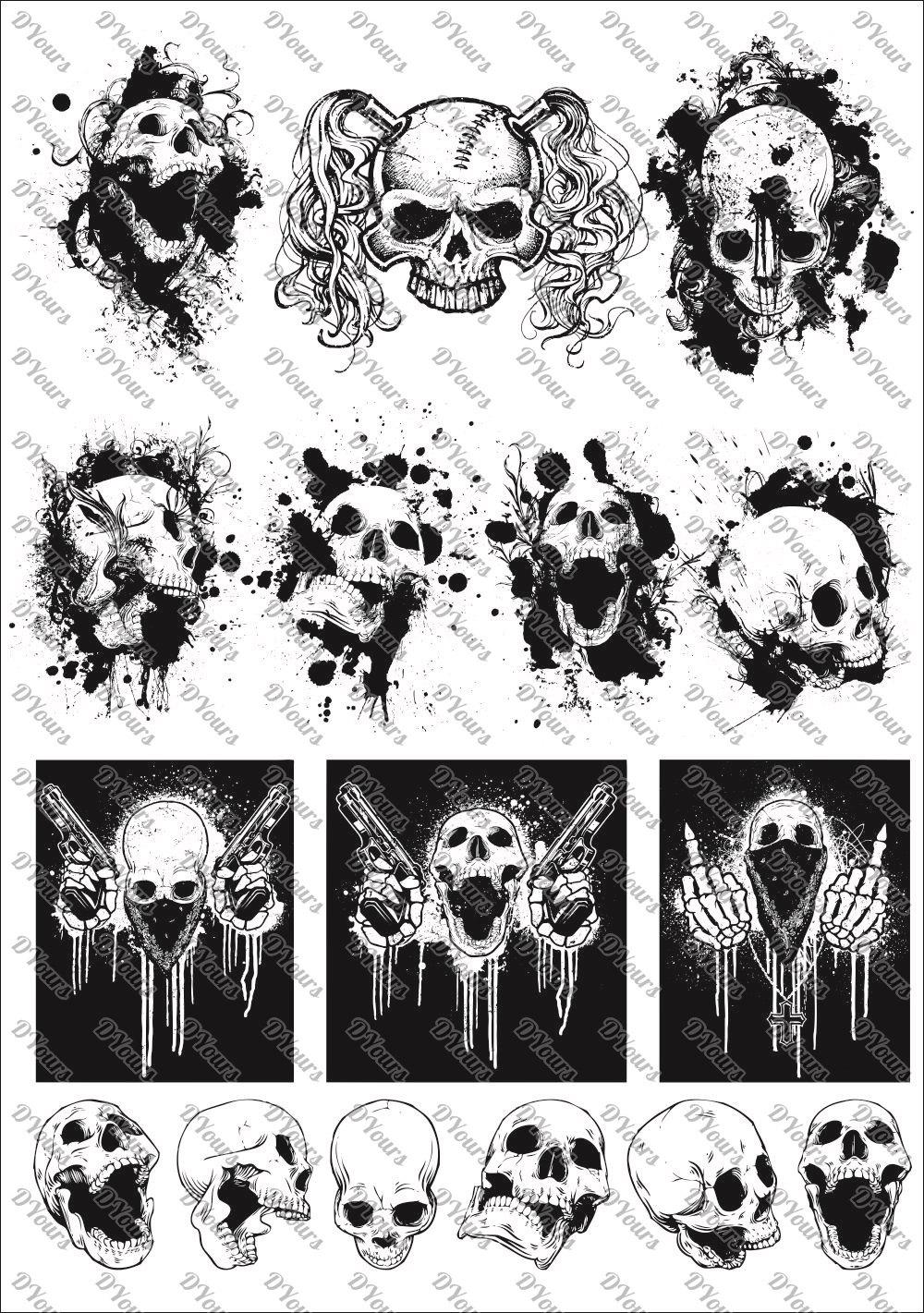 Skulls Vector Clipart Vol 2 16 Vector Models Svg Cdr