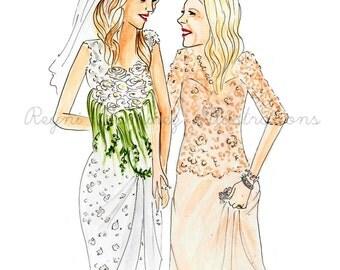 Bride and Mom custom illustration, custom portrait, custom sketch, custom illustration, custom draw, custom art