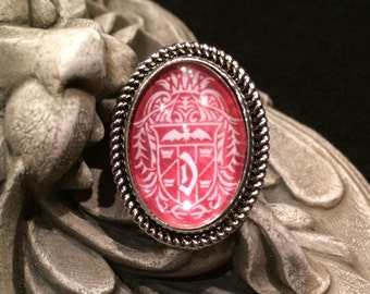 Dracula Crest Blood Red and White Silver or Bronze Oval Ring Gothic Vampire Nosferatu Crest