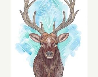 Elk Art Giclee Print - Colorful Patterned Spirit Animal Elk Illustration - Watercolor and Pen Painting - 8x10