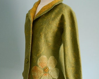 Felted wool jacket, women's jacket, green jacket, seamless jacket, size small, yellow flowers decor, felted clothing,  wearable fiber art