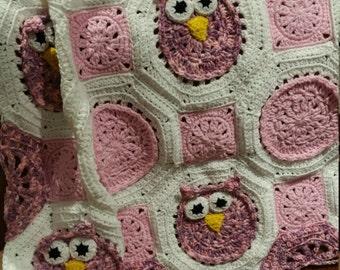 Owl Baby Blanket / Owl Blanket / Lap Afghan / Baby Afghan / Baby Girl Blanket / Owl Afghan / Crib Blanket / Crib Afghan / Baby Girl Afghan