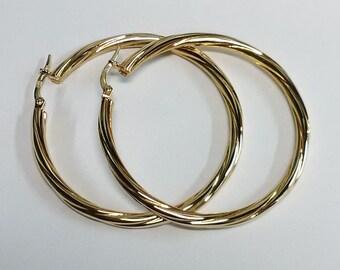 Vintage 10K Yellow Gold Large Hoop Earrings