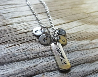 Hand Stamped Necklace - Personalized Gift - Family Necklace