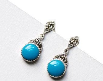 925 Sterling Silver Turquoise Dangle Earrings, Something Blue, Natural gemstone, Blue Earrings, Gift for Her, Marcasite Earrings