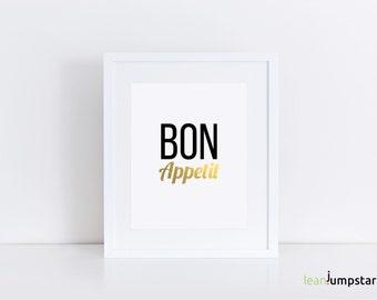Bon Appetit Sign, Bon Appetit, Kitchen Poster, Kitchen Printables, Kitchen Prints, Kitchen Wall Art, Printable Kitchen Art, Kitchen Decor