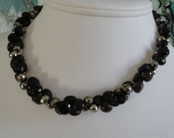 Smokey Quartz and Pyrite necklace and earring set   -   #461