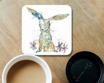 Rabbit coaster, hare coaster, wooden coaster, personalised coaster, hand made coasters, kitchenware, rabbit decor, rabbit gift