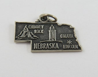 Map of State Of Nebraska Sterling Silver Charm of Pendant.