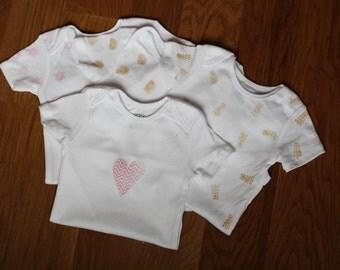 Four Hand Stamped Onesies, Baby Onesie, Onsie