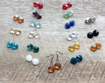 Octagon Crystal Drop Earrings, Birthstone Earrings, Dangle Earrings, Crystal Earrings, Rustic Modern Jewelry, Free Shipping U.S.