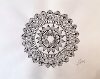 Original hand drawn mandala (ink drawing - Zentangle inspired)
