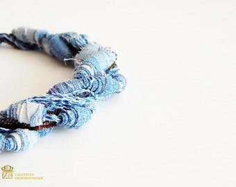 Denim necklace. Fiber necklace. Multi strand necklace. Textile necklace. Necklace. Handmade Jewelry