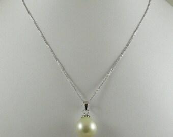 "South Sea Baroque White 13.9 x 13.6 MM Pearl Pendant & 14k White Gold Chain 18"""