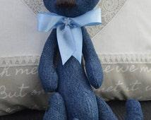 Handmade doll, Teddy bear, Bear, Decorative Doll, Fabric Doll, Textile doll, Home Decoration, Little Girl toys, Doll