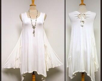 Adorable, Stylish  Peek A Boo Asymmetrical  Lace Work White Dress LAST PIECE (Size M)