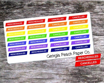 Rescheduled and Canceled Planner Stickers in Bold Colors- Made to fit Vertical Layout