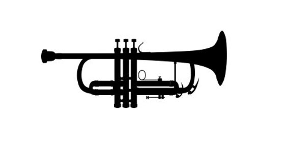 Trumpet SVG File.  For Silhouette or Cricut Machines.  For use with HTV, Oracle 631/651, Paper cutter file
