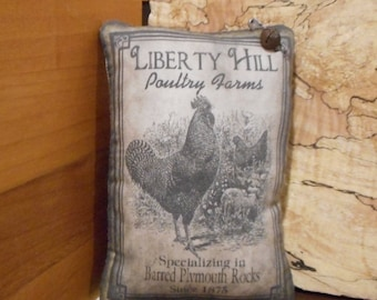 Shelf Pillow Tuck: Primitive Rustic Americana Rooster Pillow Tuck