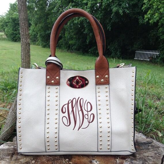 Beautiful Studded Medium Size Purse~ Cream Studded Purse ~ Double Bag~ Crossbody Strap