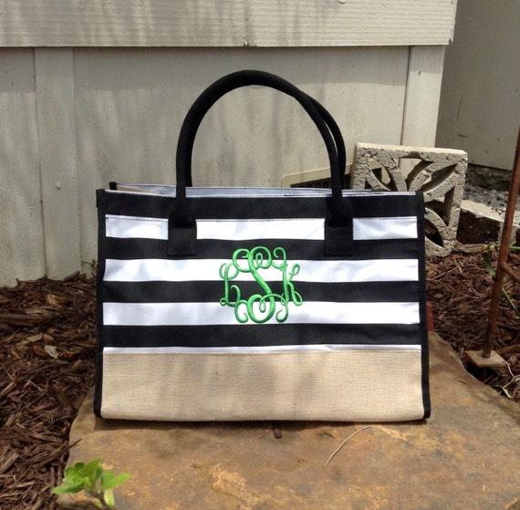 Monogram Tote ~  Black and white stripe  Tote ~ Haul it All ~ Monogram Tote Bag -~ Juco Beach tote ~ Monogram Beach Bag