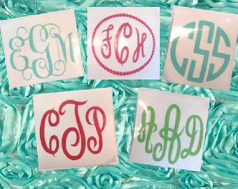 2 inch Monogram Decal, Planner Sticker, Tumbler Decal, Window Decal, Phone Decal, Swell Bottle Decal, Vinyl Decal, Gift for Her