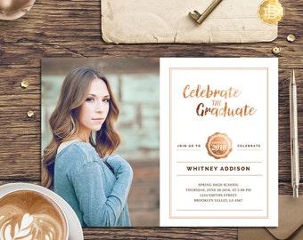 Senior Graduation Invitation Template, Senior Graduation Annoucement Card, High School Graduation Invitation - INSTANT DOWNLOAD - SG001